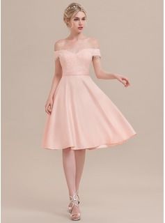 Off-the-Shoulder Knee-Length Satin Cocktail Dress With Beading Sequins