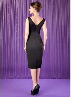 Sheath/Column Square Neckline Knee-Length Satin Mother of the Bride Dress
