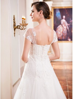 Ball-Gown Sweetheart Floor-Length Tulle Wedding Dress With Lace Beading Sequins