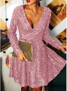 Sequins Solid A-line V-Neck Long Sleeves Midi Party Skater Wrap Dresses