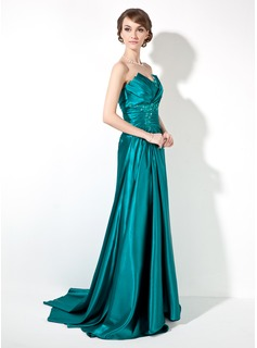 Sheath/Column Scalloped Neck Sweep Train Charmeuse Prom Dresses With Ruffle Beading