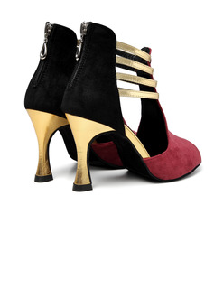 Women's Suede Boots Latin Modern Ballroom With Hollow-out Dance Shoes