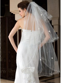 Three-tier Fingertip Bridal Veils With Cut Edge