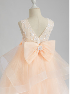 Ball-Gown/Princess Floor-length Flower Girl Dress - Sleeveless Scalloped Neck With Lace/Flower(s)/Bow(s)/V Back