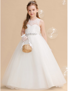 Ball-Gown/Princess Floor-length Flower Girl Dress - Tulle Lace Sleeveless Scoop Neck With Beading Bow(s) V Back