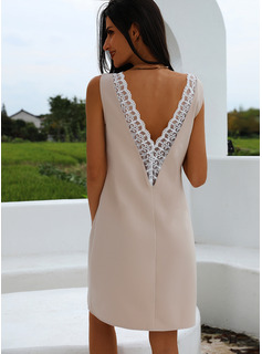 Lace Solid Backless Sheath Round Neck Sleeveless Midi Party Sexy Dresses