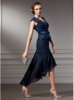 A-Line/Princess Sweetheart Asymmetrical Chiffon Lace Mother of the Bride Dress With Bow(s)