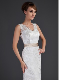 A-Line/Princess V-neck Court Train Lace Wedding Dress With Sash Beading Bow(s)