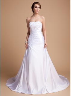 A-Line/Princess Sweetheart Chapel Train Charmeuse Wedding Dress With Beading