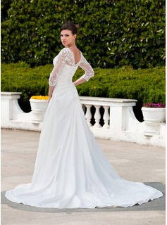 A-Line/Princess V-neck Chapel Train Taffeta Tulle Wedding Dress With Ruffle Lace Beading