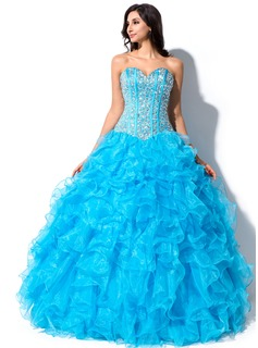 Ball-Gown Sweetheart Floor-Length Organza Quinceanera Dress With Beading Sequins