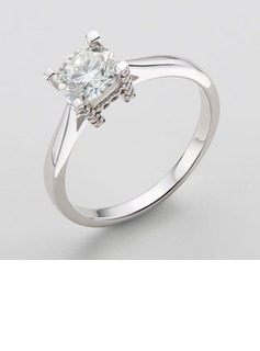 Solitaire Round Cut 925 Silver Engagement Rings