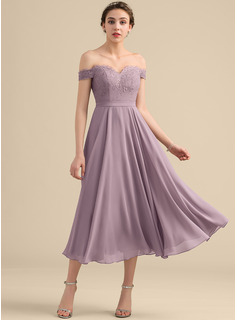 Off-the-Shoulder Tea-Length Chiffon Lace Bridesmaid Dress With Beading Sequins