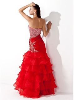Trumpet/Mermaid Sweetheart Floor-Length Organza Prom Dresses With Beading Sequins Cascading Ruffles