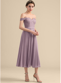 A-Line Off-the-Shoulder Tea-Length Chiffon Lace Homecoming Dress With Beading Sequins