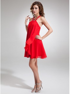 A-Line/Princess Halter Short/Mini Chiffon Homecoming Dress With Beading