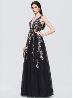 A-Line V-neck Floor-Length Tulle Evening Dress With Lace Beading Sequins