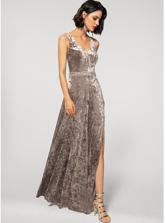 A-Line V-neck Floor-Length Velvet Evening Dress With Beading