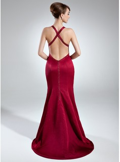 Trumpet/Mermaid Sweetheart Sweep Train Charmeuse Evening Dress With Beading Split Front