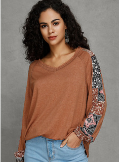 Print Patchwork Polyester V-neck Pullovers Sweaters