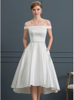 Off-the-Shoulder Asymmetrical Satin Wedding Dress With Beading Pockets