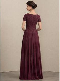 A-Line V-neck Floor-Length Chiffon Lace Mother of the Bride Dress With Sequins Pleated