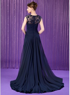 A-Line/Princess Scoop Neck Watteau Train Chiffon Mother of the Bride Dress With Ruffle Lace Beading Sequins