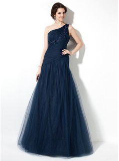 A-Line/Princess One-Shoulder Floor-Length Tulle Prom Dress With Ruffle Beading Appliques Lace