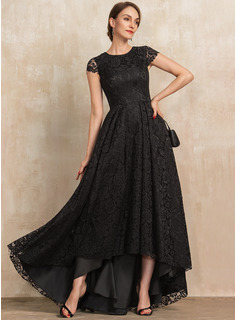 A-Line Scoop Neck Asymmetrical Lace Mother of the Bride Dress