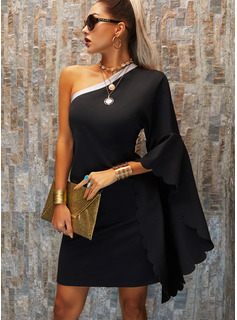 Sequins Solid Shift One Shoulder Long Sleeves Batwing Sleeves Midi Little Black Party Dresses