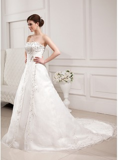 A-Line/Princess Sweetheart Chapel Train Satin Organza Wedding Dress With Embroidered Beading