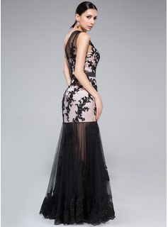 Trumpet/Mermaid One-Shoulder Floor-Length Charmeuse Prom Dress With Ruffle Appliques Lace Sequins