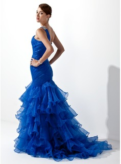 Trumpet/Mermaid One-Shoulder Sweep Train Organza Prom Dresses With Beading Cascading Ruffles