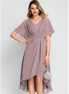 V-neck Asymmetrical Chiffon Cocktail Dress With Beading Sequins