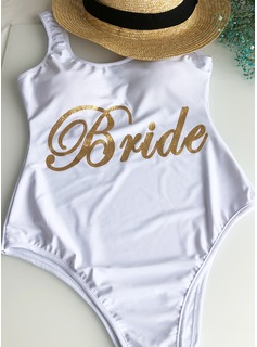 Sexy Solid Color Polyester One-piece Swimsuit