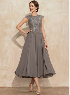 A-Line Scoop Neck Tea-Length Chiffon Lace Mother of the Bride Dress With Beading