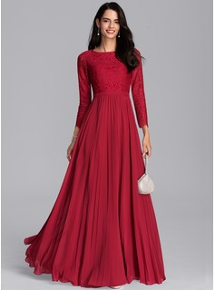 Scoop Neck Floor-Length Chiffon Bridesmaid Dress With Pleated