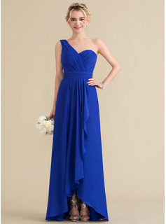One-Shoulder Asymmetrical Chiffon Bridesmaid Dress