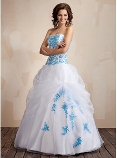 Ball-Gown Sweetheart Floor-Length Organza Quinceanera Dress With Embroidered Ruffle