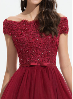 A-Line Off-the-Shoulder Asymmetrical Tulle Homecoming Dress With Beading Sequins Bow(s)
