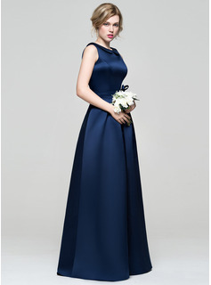 Scoop Neck Floor-Length Satin Bridesmaid Dress