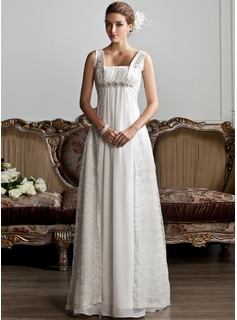 A-Line/Princess Square Neckline Sweep Train Chiffon Lace Wedding ...