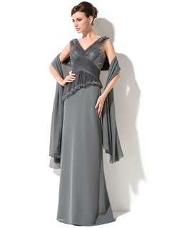 Sheath/Column V-neck Floor-Length Chiffon Tulle Mother of the Bride Dress With Lace Beading Sequins Cascading Ruffles
