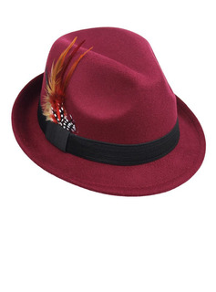 Men's Glamourous/Classic/Eye-catching Wool With Feather Fedora Hats/Panama Hats