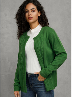 Cable-knit Solid Polyester Pullovers Sweaters