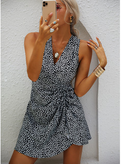 Print Sheath V-Neck Sleeveless Midi Casual Wrap Dresses