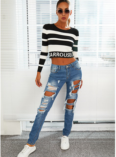 Round Neck Long Sleeves Regular Color Block Letter Casual Pullovers