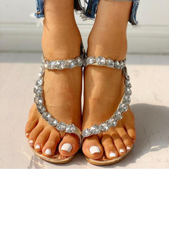 Women's Wedge Heel Peep Toe Sandals With Rhinestone