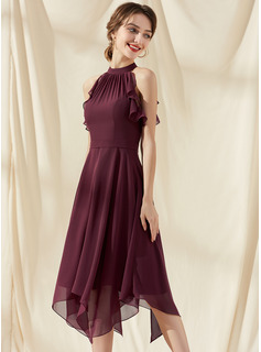 A-Line Scoop Neck Tea-Length Chiffon Bridesmaid Dress With Cascading Ruffles