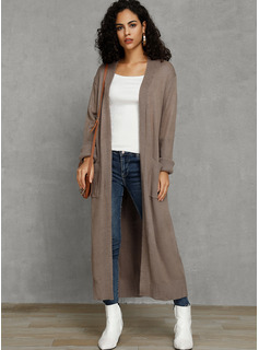 Solid Pocket Polyester Cardigans Sweaters
